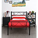 EGGREE 3ft Single Metal Bed Frame with Strong Headboard and Footboard for Kids Adults, Black