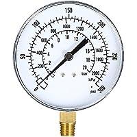KKmoon 0~300psi 0~2000kpa 0~20bar Medidor de presión mecánico Filtro de piscina Medidor de presión de gas de aire de agua de acuario Medidor de montaje inferior NPT de 1/4 pulgada