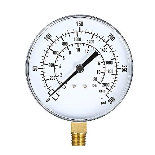 Walmeck Mechanische Manometer 0~300 psi 0~2000kpa 0~20bar Gas Manometer Meter Pool Filter Aquarium Wasser Luftdruckprüfer1/4 Zoll NPT Bottom Mount