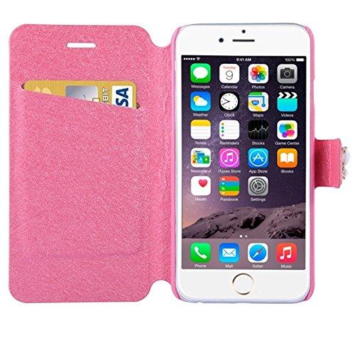 Phone case & Hülle Für IPhone 6 / 6S, natürliche Silk Textur & Stereoskopische Diamant verkrustete Rose Horizontale Flip Leder Tasche mit Halter & Card Slot ( Color : Blue ) Pink