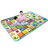Sampri Play mat Baby mats Waterproof Double Side Big Soft (6 Feet X 5 Feet) Crawl Floor Matt for Kids Picnic School Home Large Size with Zip Bag to Carry