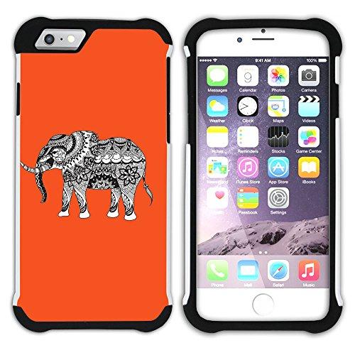 Graphic4You Stammes- Elefant (Wasserblau) Hart + Weiche Kratzfeste Hülle Case Schale Tasche Schutzhülle für Apple iPhone 6 Plus / 6S Plus Orange