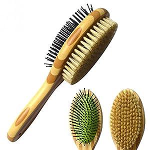 JunBo Brosse pour Chien/Chat Brosse de Toilettage et Massage pour Chiens et Chats en Bambou, Double Face