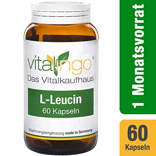 L-Leucin Kapseln vitalingo - 60 Kapseln à 460mg - Zutaten je Kapsel: 360mg L-Leucin Pulver - Kapselhülle 100mg Hydroxypropylmethylcellulose, vegetarische Hülle