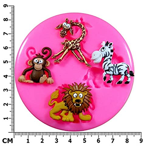 Zoo-Animaux de Safari zèbre, Lion, singe et girafe Moule en Silicone pour décoration de gâteaux glaçage pâte à sucre et décorations de gâteaux outil Par les fées Blessings