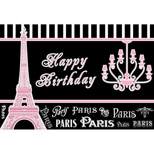 YongFoto Fotohintergrund Happy Birthday Paris Effiel Tower Paris Motto Prinzessin Mädchen Geburtstag Hintergrund Event Party Dekoration Hochformat Foto Shoot Studio Foto Stand Requisiten