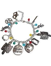 Orion Creations Vampire Diaries Inspired Charm Bracelet con Cuentas de Cristal