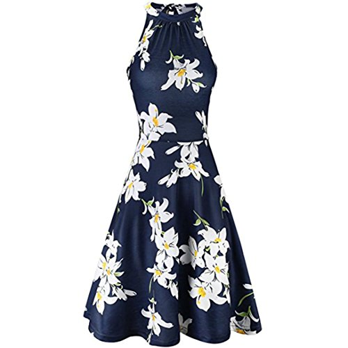 Minikleid,SANFASHION Damen Sommer Strand Blumendruck Ärmelloses Freizeitkleid