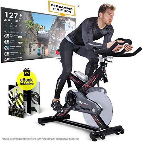 Sportstech Profi Indoor Cycle SX400 -Deutsche Qualitätsmarke-mit Video Events & Multiplayer APP, 22KG Schwungrad, Pulsgurt kompatibel-Speedbike mit leisem Riemenantrieb-Ergometer