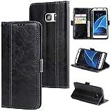 DENDICO Galaxy S7 Edge Hülle, Premium Leder Wallet Tasche Flip Schutzhülle für Samsung Galaxy S7 Edge, Handytasche Klappbar Tasche Flip Case - Schwarz