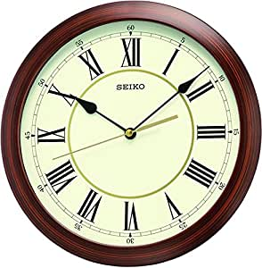 Seiko Horloge murale analogique bois marron qxa597a
