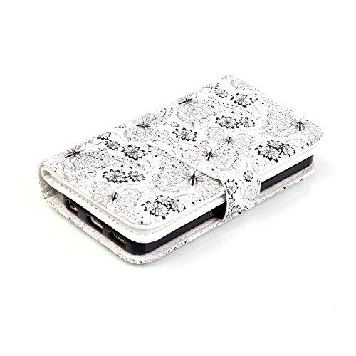 MOONCASE iPhone 5C Coque,[Butterfly] Relief Multifonction Fentes de Cartes Housse en Cuir Etui à rabat Case avec Portefeuille Béquille Fermeture Magnétique pour iPhone 5C Butterfly and Flower