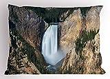 ABAKUHAUS Wyoming Federe Cuscino, Gran Canyon di Yellowstone, Federe Cuscino Decorative di Dimensioni Standard, 75 X 50 cm, Scuro Marrone Sabbia Cacciatore Verde E Bianco