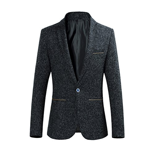 Zhhlinyuan Mode Mens Formal Casual One Button Suit Jacket Outerwear Plus Size Black