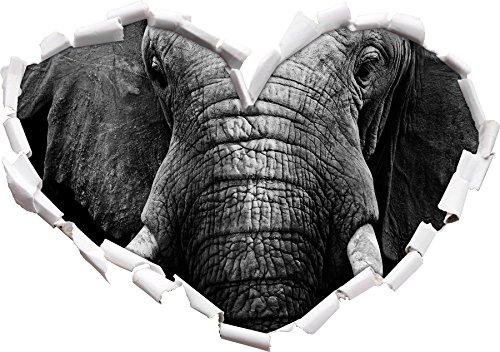 Elephant a forma di cuore ritratto in formato adesivo aspetto, parete o una porta 3D: 92x64.5cm, autoadesivi della parete, decalcomanie della parete, Wanddekoratio
