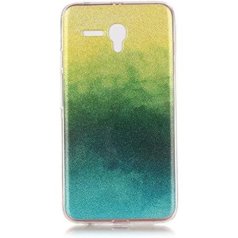 BONROY ® TPU Schutzhülle für Alcatel Onetouch Pop 3 (5,0 zoll) case Wallet Schale Tasche Silikon Back Cover Etui Skin Shell Handyhülle Intarsien Weich - lila Feder Traumfänger