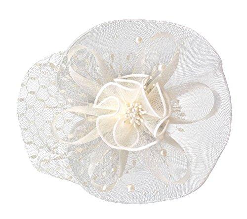 Damen Fascinator Haarclip Stirnband Spitze Schleier Blume Braut Kopfschmuck (Beige) (Kostüm Party Themes Zu Weihnachten)