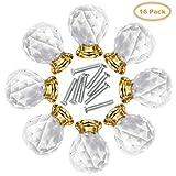 Schubladenknöpfe (16 Stück) - Diamant Form Kristall Schrank Moebelknauf Griff Knöpfe mit Schraube, Garderobe Ziehgriffe Möbelgriff - Vintage-Stil Schrankgriffe für Küche, Büro und Zuhause