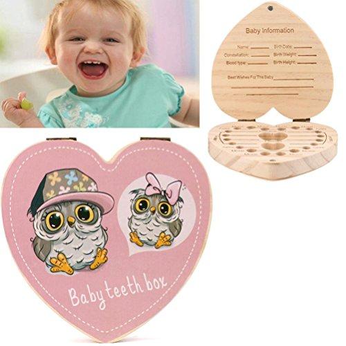 Preisvergleich Produktbild wuayi Kids Zahndose Organizer Baby sparen Milch Zähne Aufbewahrungsbox aus Holz Souvenir Box