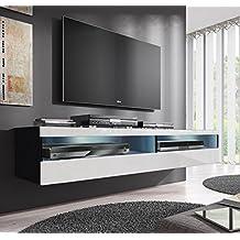 Muebles Bonitos –Mueble TV modelo Tobic (160 cm) en color negro y blanco