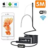 WiFi Endoscópica cámara HD 720P,CrazyFire Inalámbrico Inspección Cámara, 8.0mm Boroscopio Pipe Snake Cámara USB Handheld Digital para iPhone,Android Smart Phone Tablet(5 m)