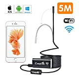 Endoscope iPhone,CrazyFire Endoscope WiFi HD 720P Câble Semi Rigide, d'Inspection Caméra Etanche 8.0mm avec 8 LED Compatible avec iOS,iPhone,Android,Tablette et Windows - 5M (DE-1023)
