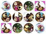 12 Stück Muffinaufleger Muffinfoto Aufleger Foto Bild Mascha und der Bär (9) rund ca. 6 cm *NEU*OVP*
