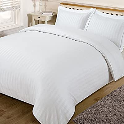Dreamscene Beautiful Satin Stripe Duvet Bedding Set, White, Double produced by Dreamscene - quick delivery from UK.