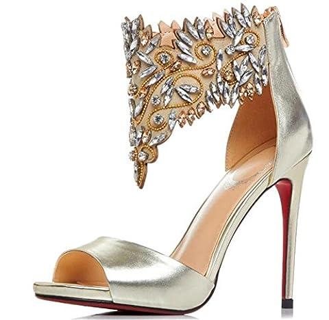 YEEY Chaussures d'été des femmes bottes de cheville sandales Booty Toe Open String talons hauts , gold , 38