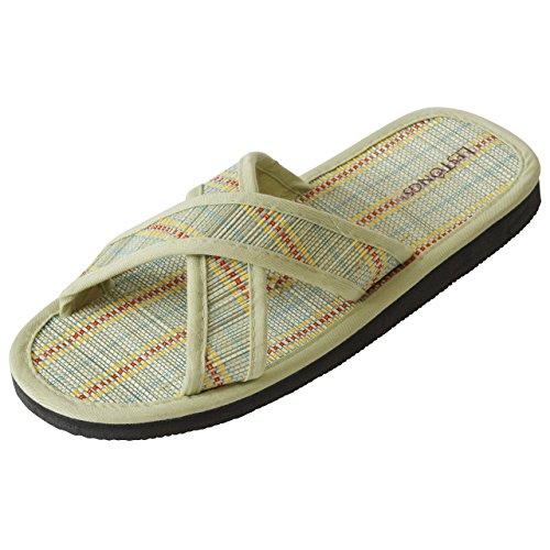 Japanwelt Zimtlatschen JUNCUS-X Stripes | Zimt Sandalen mit Zimtsohle und Kreuzriemen, vegan und ideal für den Sommer | Die beliebten Les Tongs Zimt Schuhe aus Vietnam Khaki