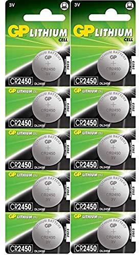 Batterien CR2450 3V Lithium Knopfzellen CR 2450 (3 Volt) 10 Stück Knopfbatterien (GP Batteries...