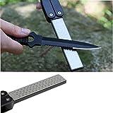 Affûteurs manuels diamant émeri de forme en éventail Double-face pour Couteau de cuisine Outils extérieurs (noir)