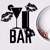 Mhdxmp Wandtattoo Bar Nachtclub Alkohol Vinyl Aufkleber Abnehmbare Küche Interior Design Wandkunst Aufkleber Bar Design Dekoration 42 * 47 Cm