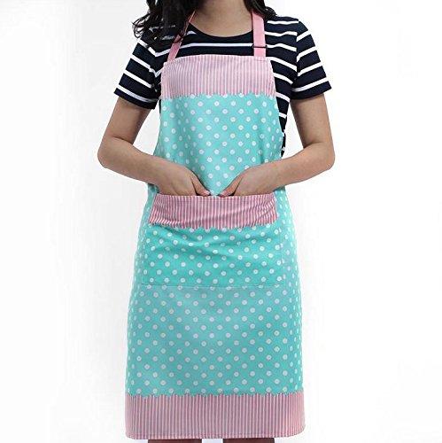 Veewon Damen Küchenschürze mit Taschen Restaurant Flirty Schürzen für Damen Koch, Cupcake, Cafe und Kellnerin (Blau) -