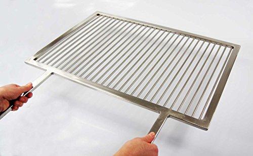 PREMIUM Grillrost Edelstahl 67 x 40 cm + 2 feste Griffe Handarbeit V2A 1.4301