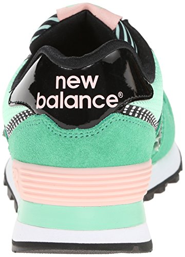 New Balance 574 Pique Polo Pack, Sneaker Donna Verde (Suede/Mesh Green/Pink)