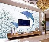 Fototapete 3D Tapete Vlies Wallpaper Wanddeko Anpassbare Wandbilder Von Hand Bemalt Blaue Delfine Unterwasserwelt Hintergrund Mauer