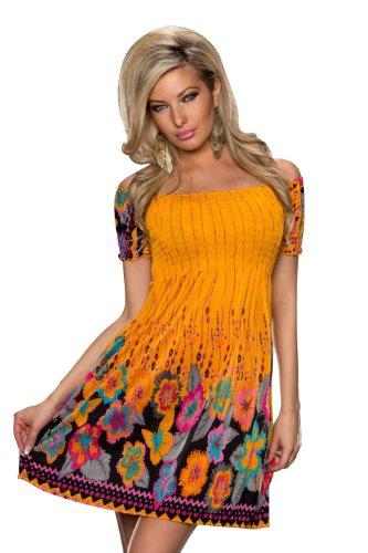 4949 Fashion4Young mini-robe à manches courtes pour femme summer robe robe disponible en 4 coloris disponibles taille 34/36 - Orange Multicolor