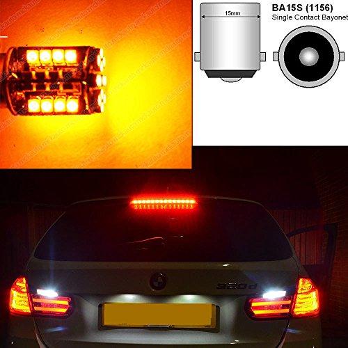 Bombillas intermitentes de tipo P21W con LED 44 SMD, sistema CAN bus, para luces de señalización delanteras y traseras BA15s, EB7L2, color ámbar y anaranjado