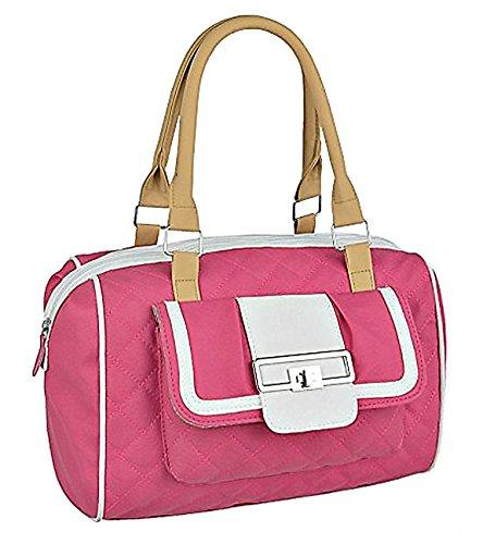 fca1bdf071a51 Damen Kunstleder gesteppte Handtasche Entwerfer Frauen Tasche Rosa ...