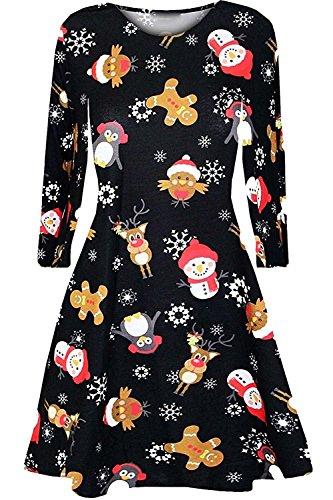 Tops ärmel Und Glocke Kleider (Damen der Frauen mit langen Ärmeln Olaf Santa Geschenke Glocken Lebkuchen-Weihnachtsweihnachts druckte Neuheit Ausgestelltes Swing-Kleid Top in Übergrößen (S/M 36-38, Brown Bird))