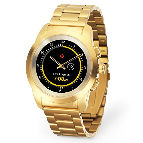 MyKronoz ZeTime Elite Hybrid Smartwatch 44mm with mechanical hands over a color touch screen - Brushed Yellow Gold / Metal Link