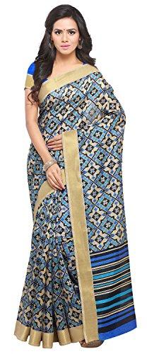 Rajnandini Women's Beige Tussar Silk Patola Printed Saree