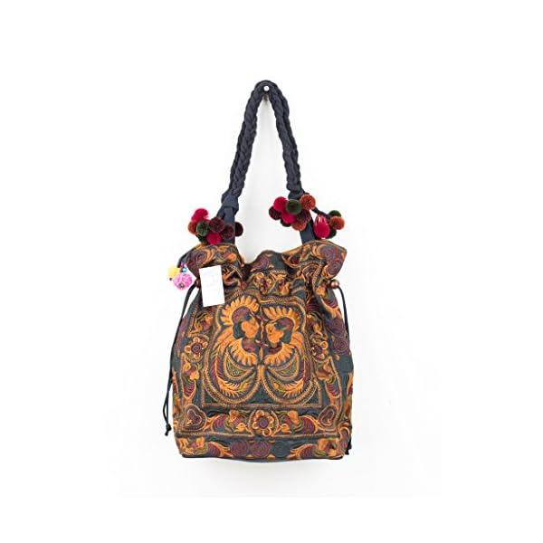Changnoi Mocha Bird Handmade Pom Pom Embroidered Tote, Unique Boho Shoulder Bag - handmade-bags