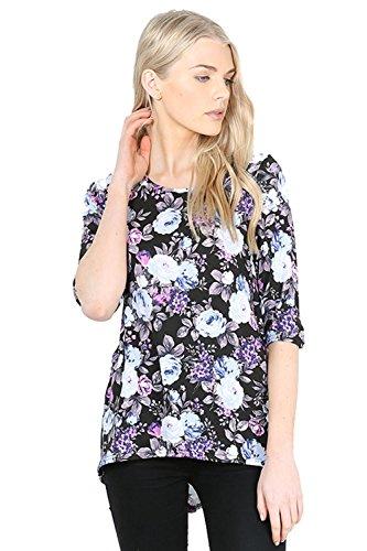 Be Jealous -  T-shirt - Maniche a 3/4 - Donna Black Purple Floral