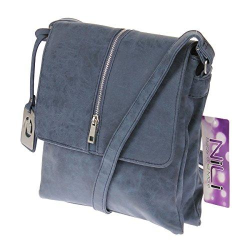 Nili Bags and More , Borsa Messenger  blu Modell 2 (Klein) Modell 1 (Groß)