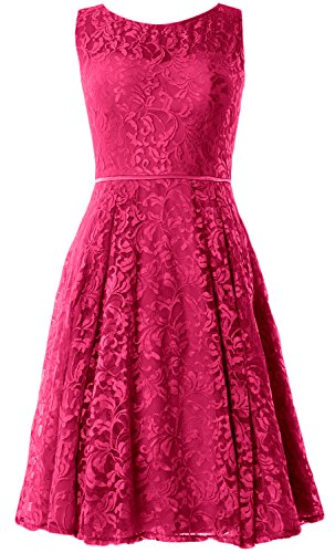 MACloth Women Lace Cocktail Dress Vintage Knee Length Wedding Party Formal Gown Fuchsia