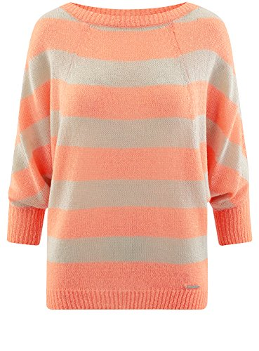 oodji Collection Damen Mohair-Pullover mit Streifen Orange (1254S)