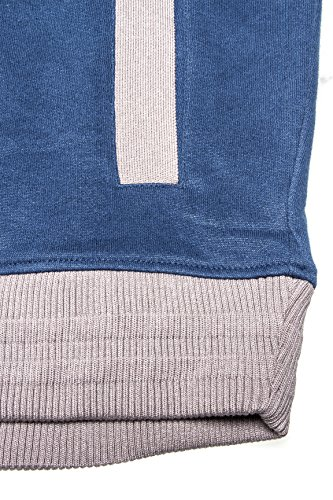 Kitaro Sweatjacke in Herrenübergrößen in blau melange Dunkelblau