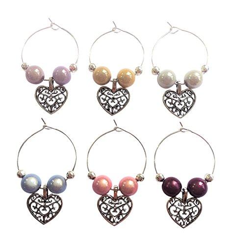 Set von 6Pastell Farbe Antik von Libby 's Market Place Weinglas-Charms handgefertigt Herzen ~ von...